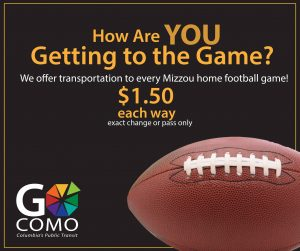 How are you getting to the game? We offer transportation to every Mizzou home football game! $1.50 each way (exact change or pass only)